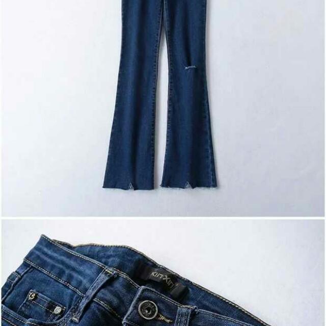 歐美風顯瘦微喇叭褲布料舒服