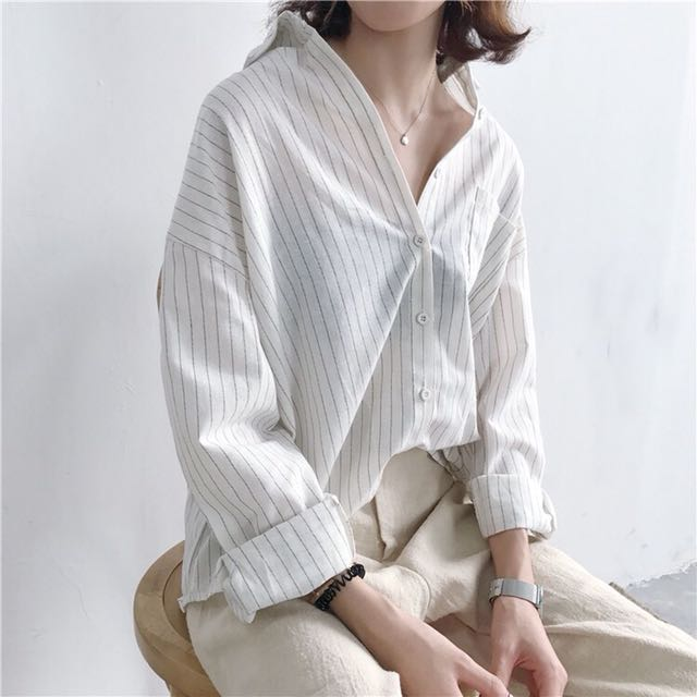 簡約直條棉麻寬鬆襯衫