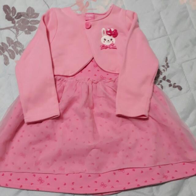 小兔子粉色洋裝+小外套