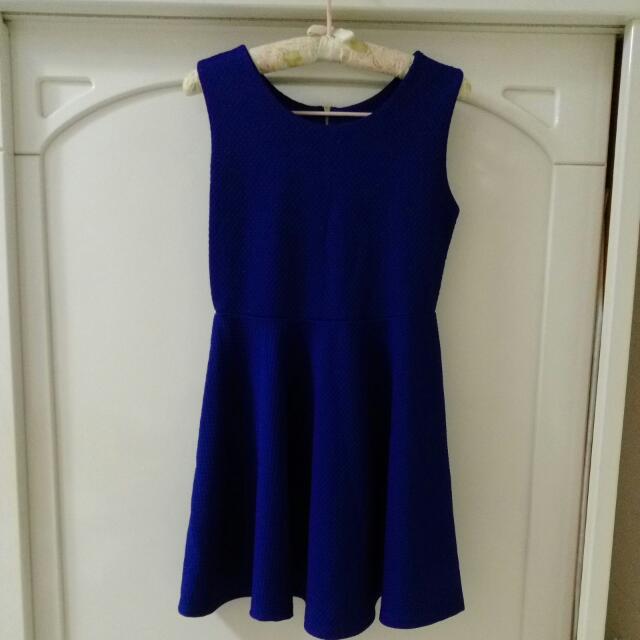 正藍色連身無袖洋裝