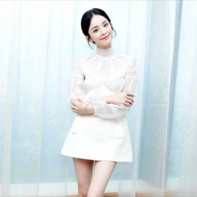 氣質白色蕾絲洋裝