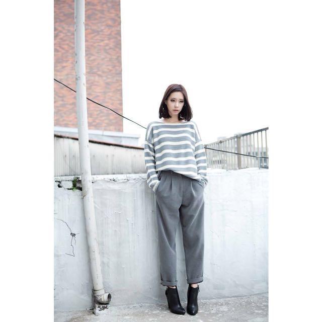 時髦灰色西裝褲 正韓