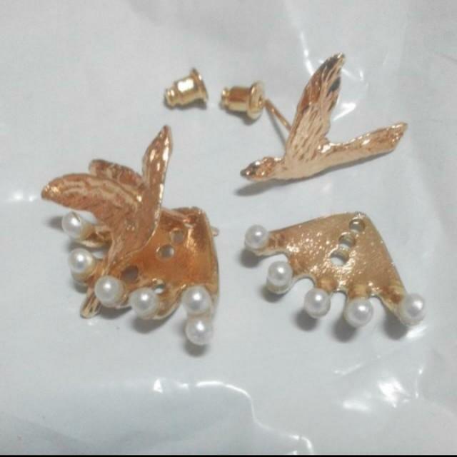 歐美時尚文創喜鵲鳥珍珠白耳環耳針  #聖誕禮物                  #交換禮物  # 手滑買太多