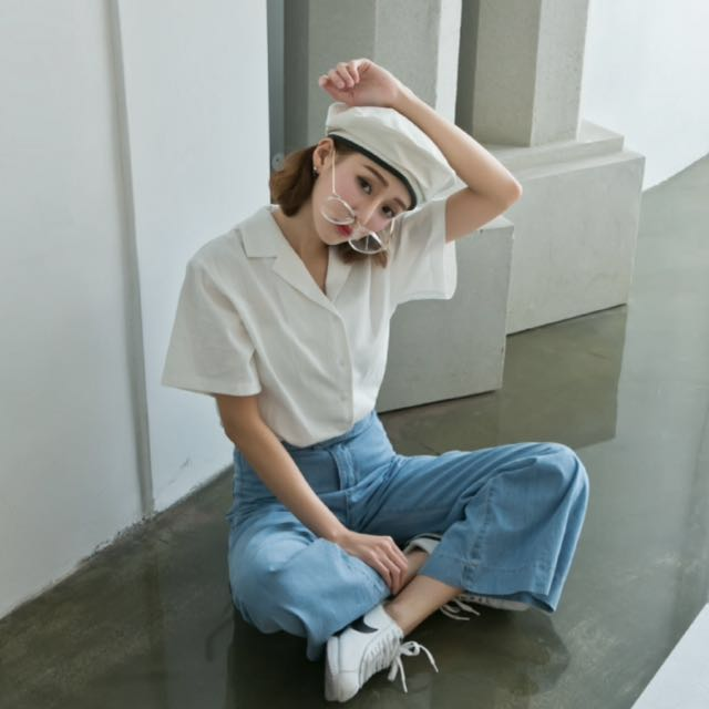 全新✨白色 韓版 棉麻 短袖襯衫