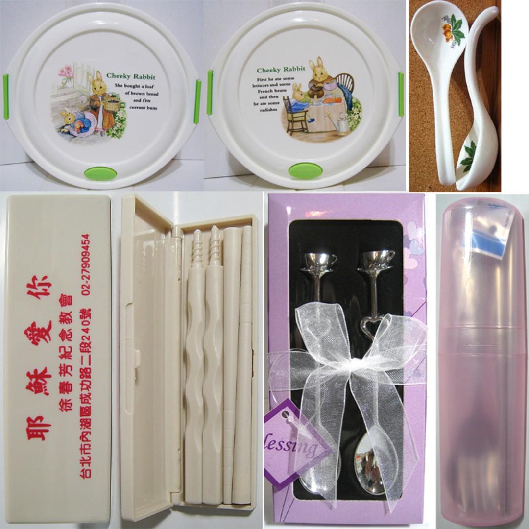 衛生餐具組 環保餐具組 攜帶餐具組(筷子 湯匙 叉子)、陶瓷湯匙、陶板屋心晴茶匙 攪拌匙禮盒、彼得兔微波保鮮盒餐盒