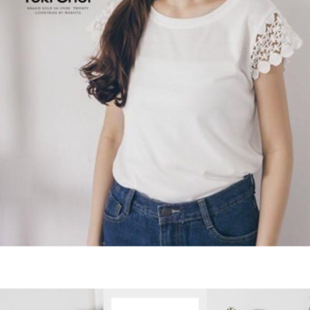 東京著衣 鏤空蕾絲袖仿棉上衣  白色L號