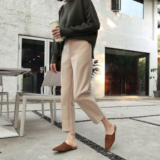 西裝褲 秋冬韓版寬鬆前短後長面料厚實毛呢直筒褲 M號