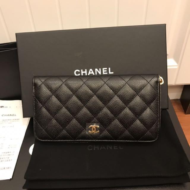 現貨正品 Chanel 經典 荔枝皮 金釦 拉鍊長夾 A82370