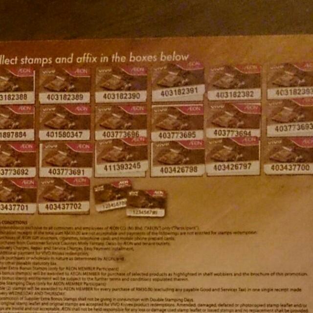 AEON Vivo Knife Redemption Stamps Stickers