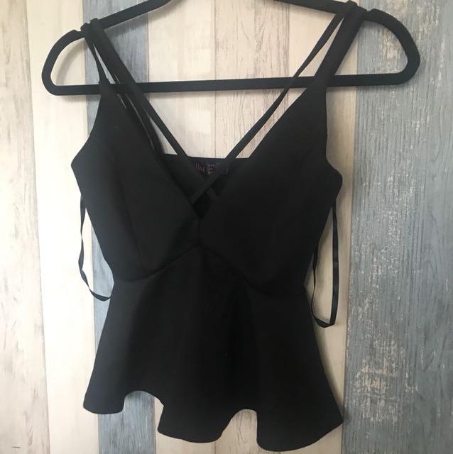 Ally fashion black cami top. Size Au 6