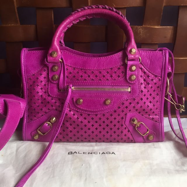 Balenciaga Perforated Mini City Bag (Raspberry Sorbet)