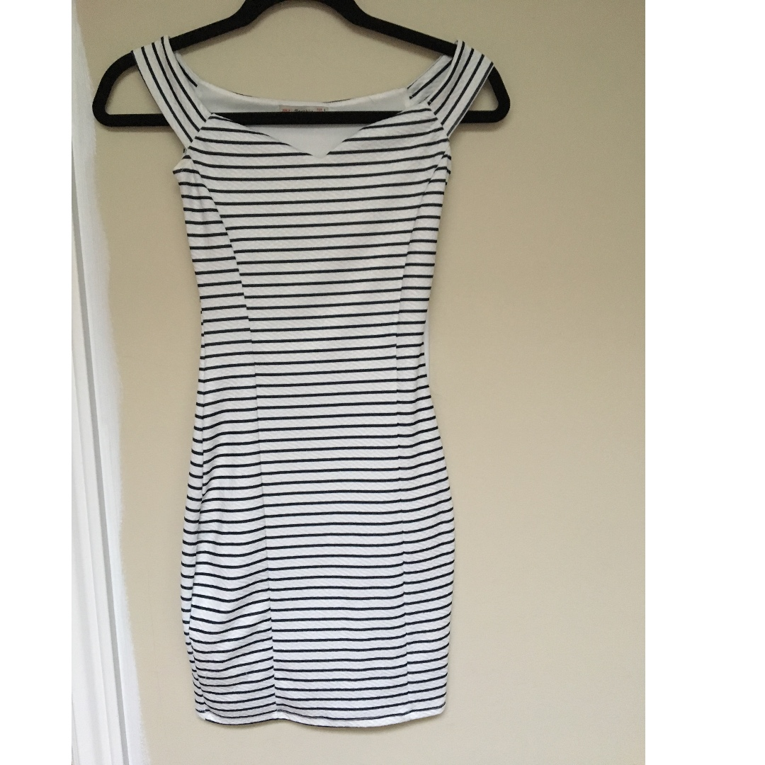 Bershka Striped Over the Shoulder Dress Size S