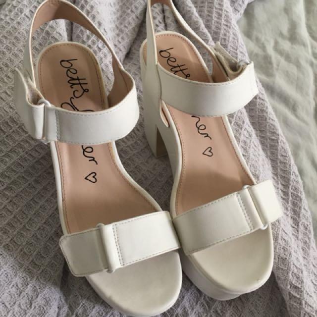 REDUCED Betts Platform White Heels