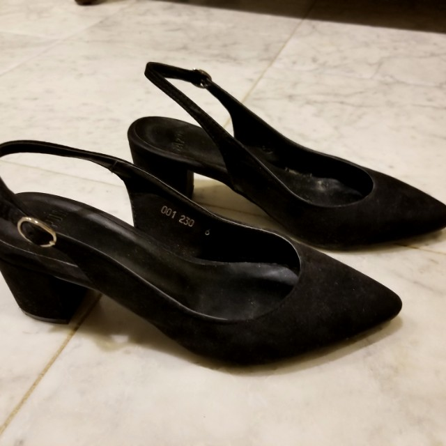 Black Suede Slingbacks