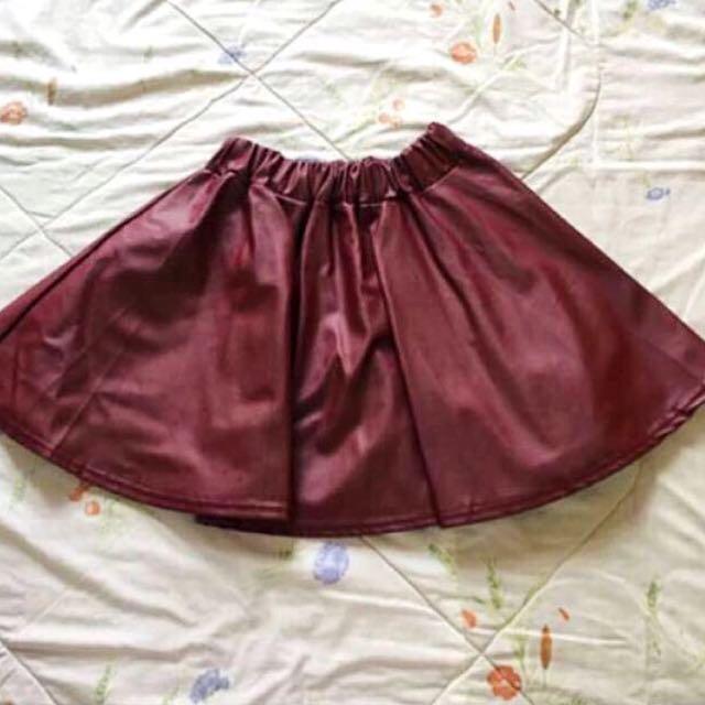 [BN] Maroon Leather Skater Skirt