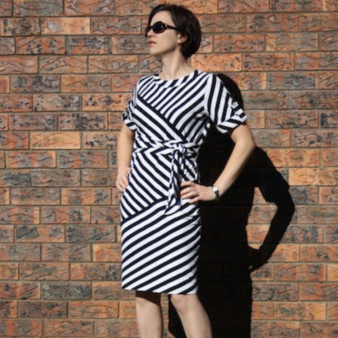 BNWOT DVF Inspired Navy Striped Tie-Side Dress