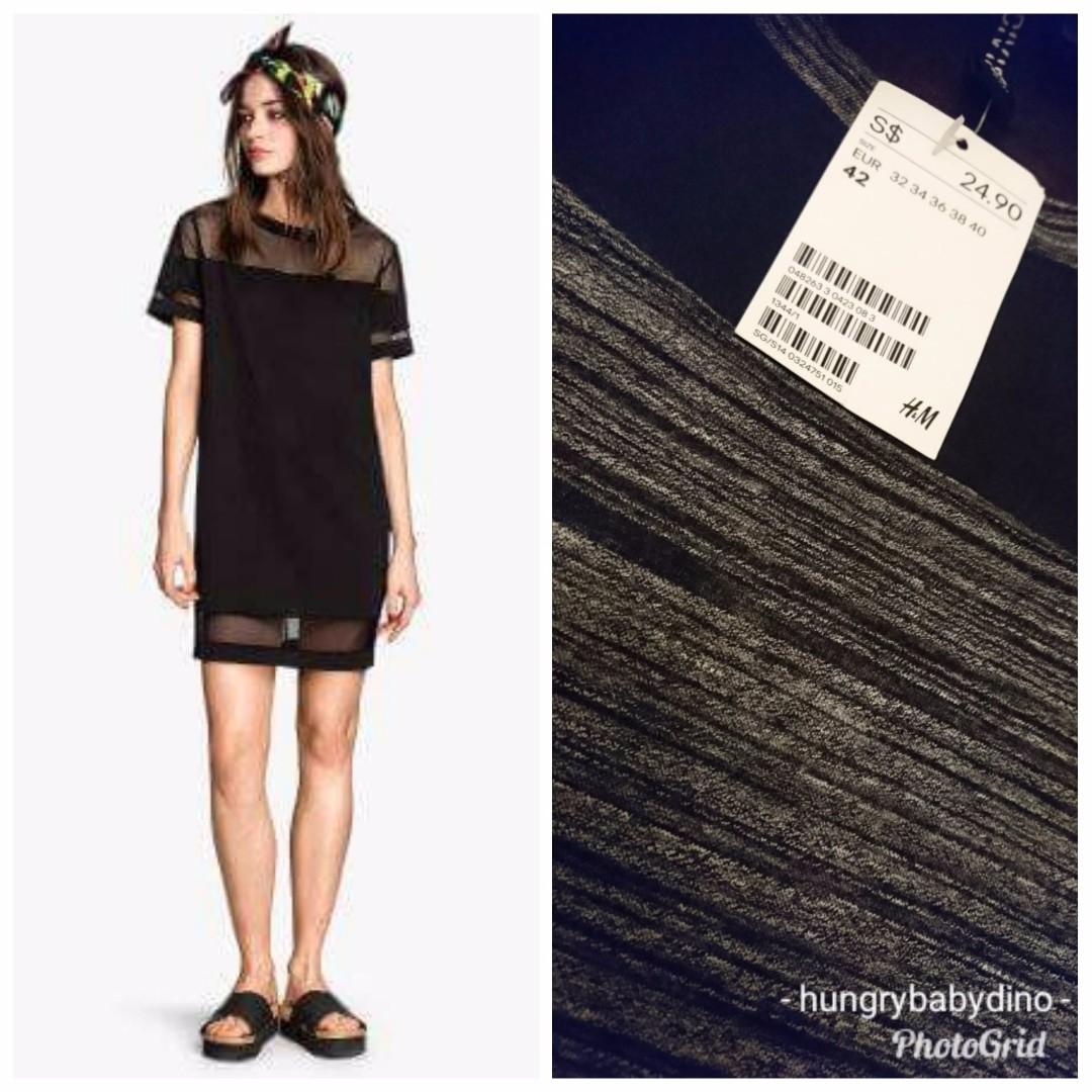 Bnwt Hm Mesh T Shirt Dress Marled Flecked Grey Midi Knee Length