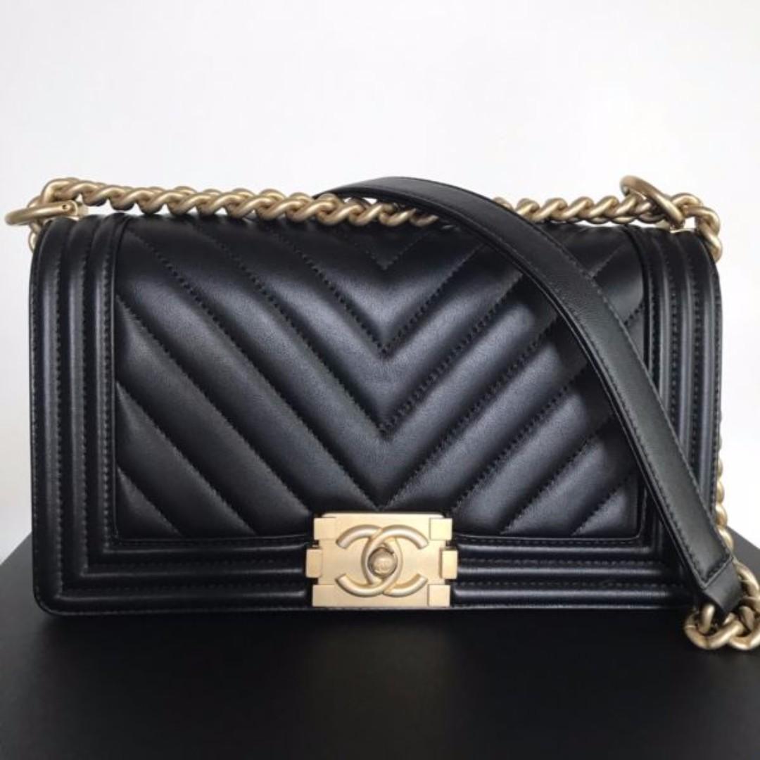 Brand new authentic medium chanel black chevron boy lambskin womens fashion  bags wallets on carousell jpg ea2bd435cb