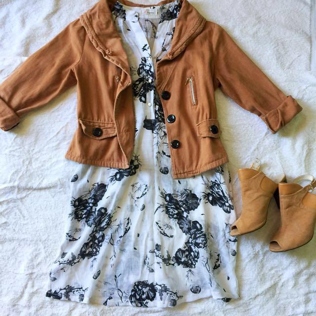 Brown denim crop jacket