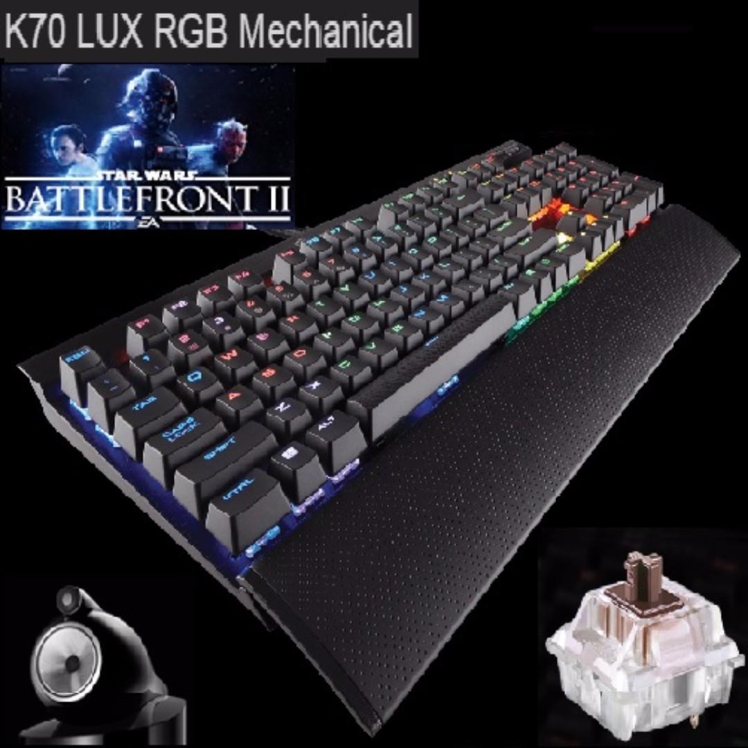 Corsair K70 LUX RGB Mechanical Gaming Keyboard - Cherry MX