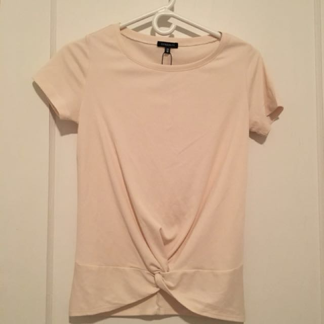 Cream knotted knit top