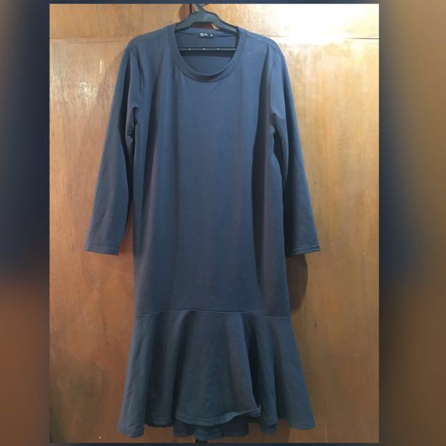 Dark Blue Long Sleeve Dress (Plus Size)