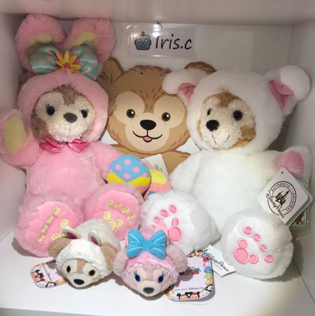 一套組免運香港迪士尼絕版復活節兔裝達菲Duffy 粉紅兔雪莉玫shelliemay Disney Tsumtsum