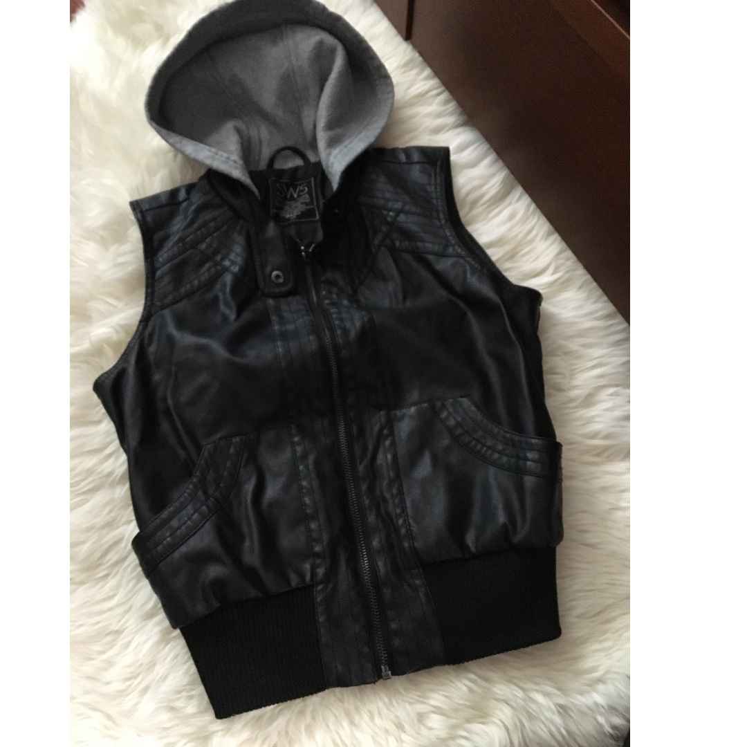 Faux Leather Vest with Sweater Hood Size S
