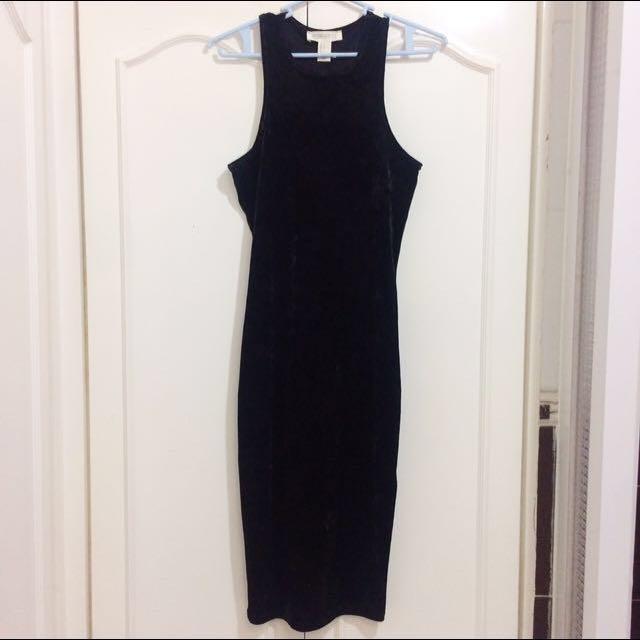 Forever 21 black black velvet dress