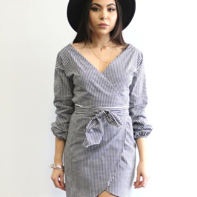 Gingham Wrap Dress - LA Brand