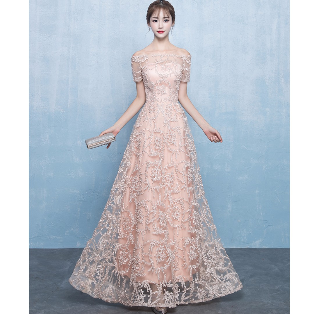 a68c03e24b6e Gown Collection - Korean Style T-Off Shoulder Design Dinner Gown ...