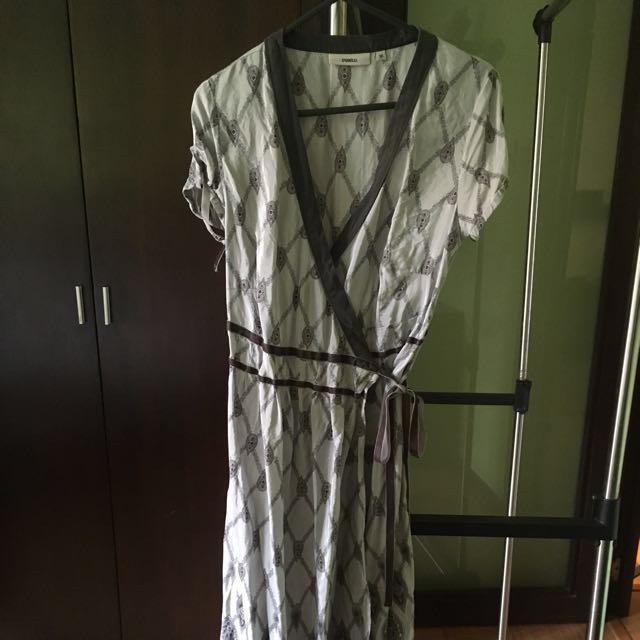 Gray printed wrap midi dress