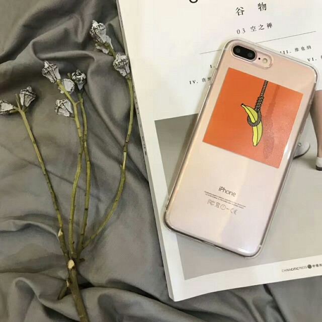 Hanging Banana Transparent Clear High Quality Durable Soft Shell Phone Case For iPhone 6/7/7plus/8/8plus/X