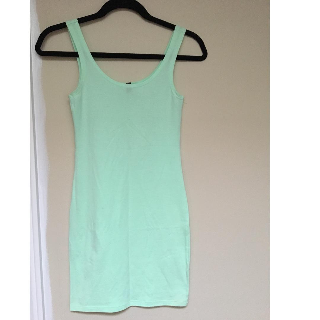 H&M Mint Green Bodycon Dress Size 4