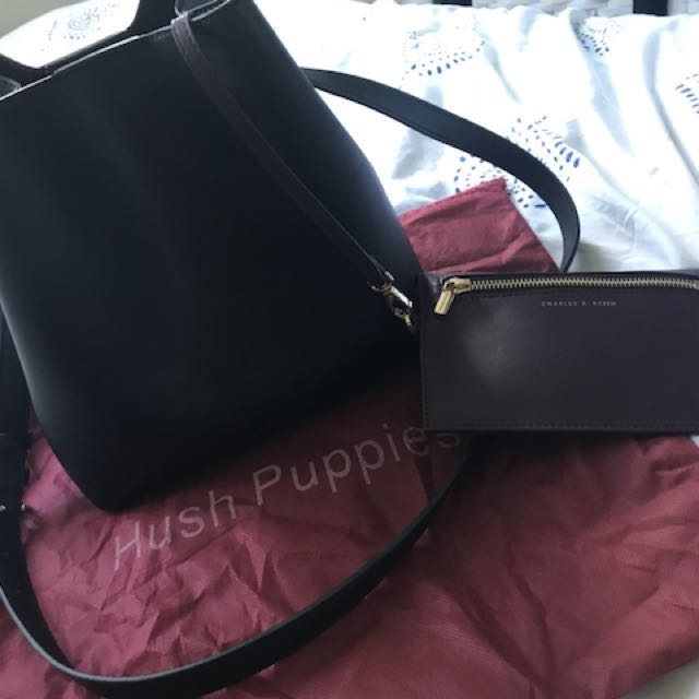 Hush Puppies Leather black Bucket bag