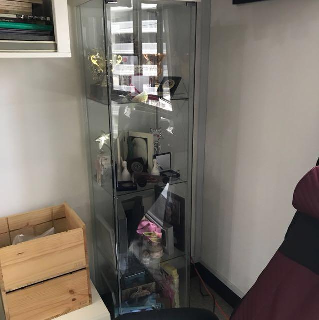 Ikea Detolf Glass Door Cabinet Shelve Furniture Shelves