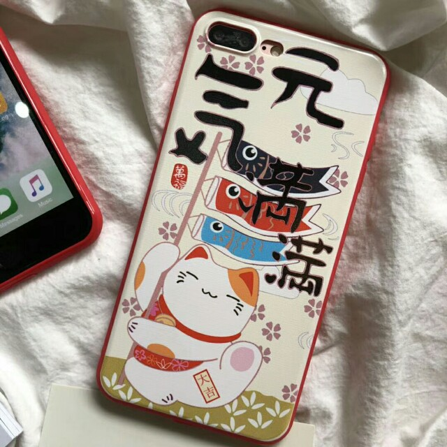 Japanese Lucky Cat High Quality Durable Phone Case For iPhone.6/7/7plus/8/8plus/X
