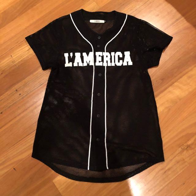 L'AMERICA Mesh Jersey TShirt Dress