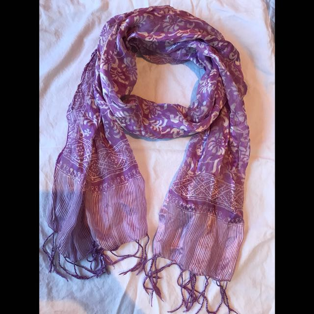 Light Purple Tribal and Floral Scarf