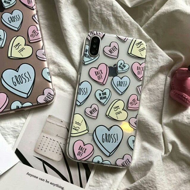 Love Hearts Transparent Clear High Quality Silicon Soft Shell Phone Case For iPhone 6/7/7plus8/8plus/X