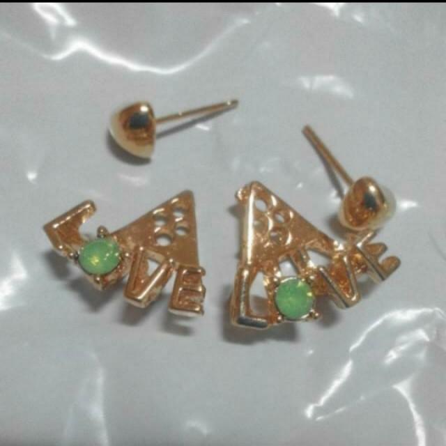 韓版網路爆款可愛氣質L♡VE鑲鑽耳環耳針               #聖誕禮物  #交換禮物  #手滑買太多