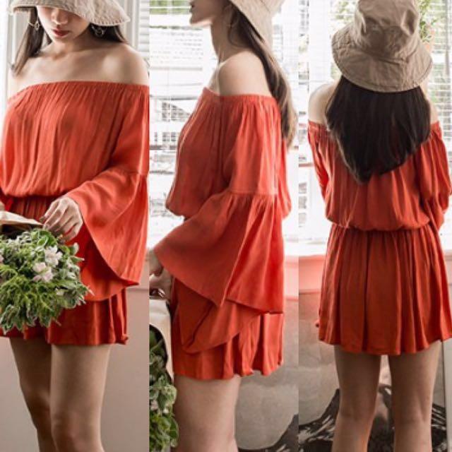 Mercci22 橘紅色一字領寬袖洋裝 #雙十一女裝出清#手滑買太多