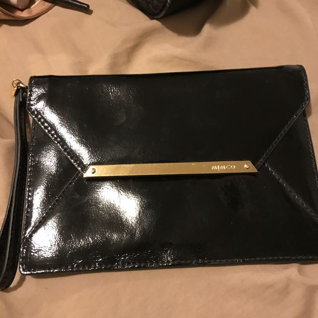 Mimco black leather envelope purse