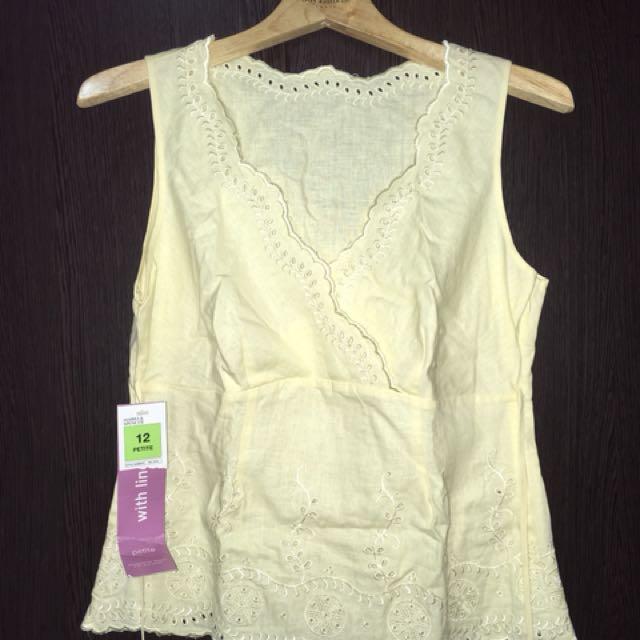 M&S yellow sleeveless top