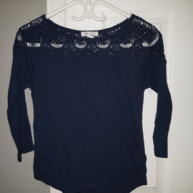 Navy blue shirt with lace detailing