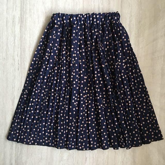 Navy dot A line skirt