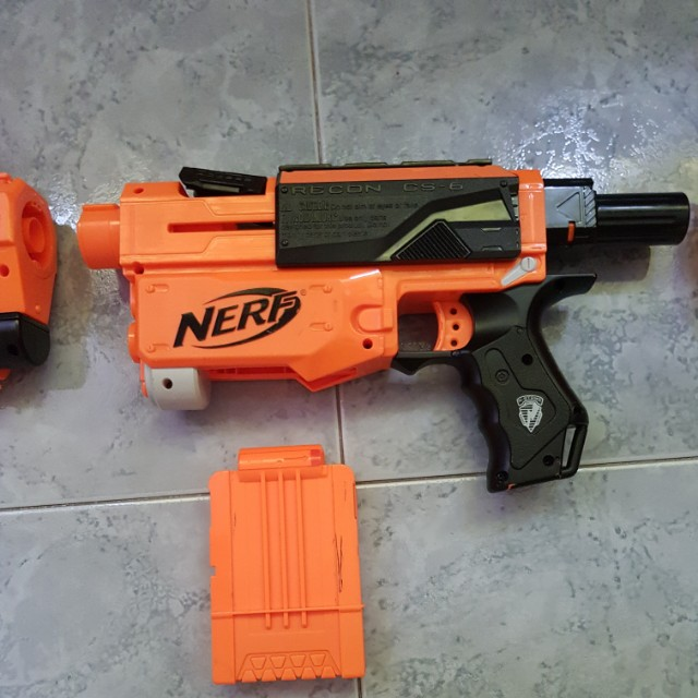 Nerf N-Strike Recon Cs-6 Gun With Barrel And 2 Full Magazines,