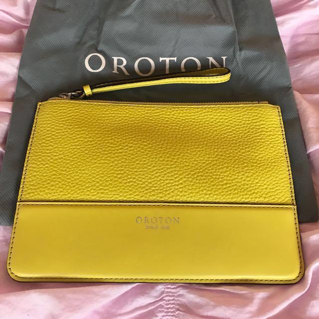 Oroton Berkeley Medium Pouch In Neon Yellow