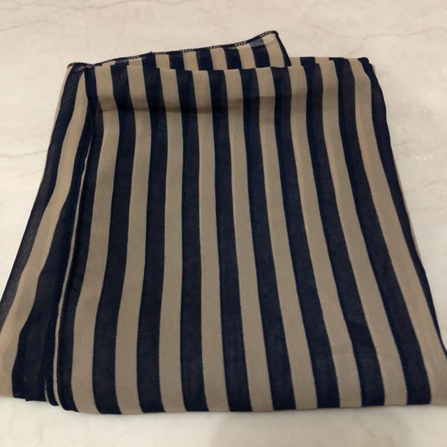 Pasmina stripe navy coklat