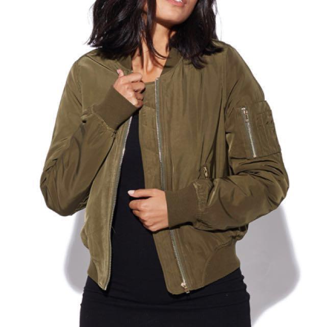 Perfect Stranger Khaki Bomber Jacket